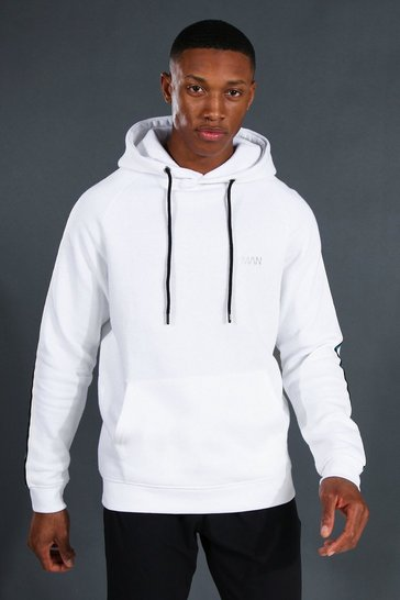 White Man Active Raglan Hoodie With Tape Detail