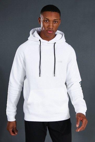 White Man Active Raglan Hoodie With Tape Detail
