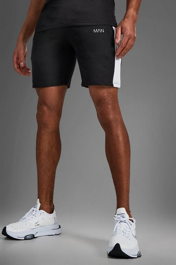 Black Man Mid Length Shorts With Side Panels