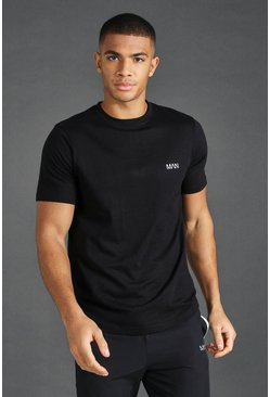 Black Man T-shirt With Curved Hem And Back Panels