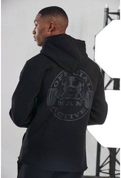 Black Man Active Raw Official Large Logo Hoodie
