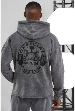 Charcoal grey Man Active Acid Wash Raw Official Logo Hoodie