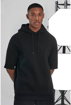 Black Man Active Oversized Short Sleeve Hoodie