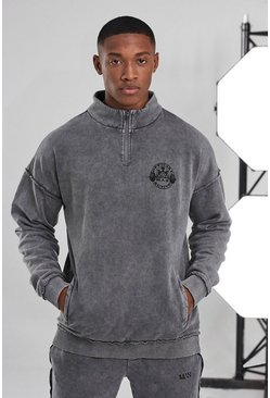 Charcoal grey Man Active Acid Wash Raw 1/4 Zip Top