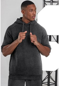 Charcoal grey Man Active Oversized Short Sleeve Hoodie
