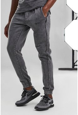Charcoal grey Man Active Acid Wash Skinny Raw Edge Jogger