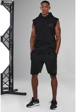 Black Man Active Raw Edge Short Tracksuit