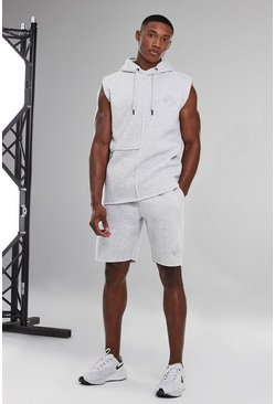 White Man Active Sleeveless Raw Edge Tracksuit