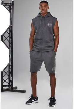 Charcoal grey Man Active Acid Wash Raw Edge Short Tracksuit