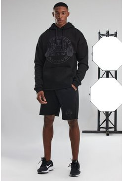 Black Man Active Hooded Raw Edge Short Tracksuit