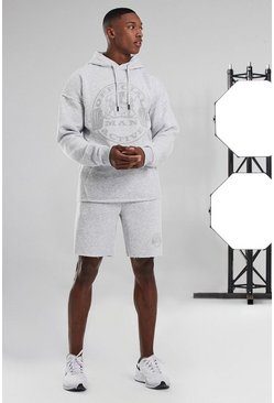 White Man Active Hooded Raw Edge Short Tracksuit