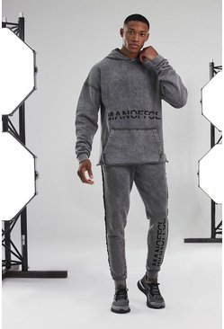 Charcoal grey Man Active Acid Wash Hoodie Tracksuit