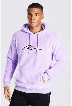 Lilac purple Borg Man Signature Over The Head Hoodie