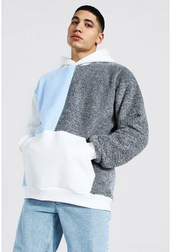 Light blue Oversized Colour Block Borg Hoodie