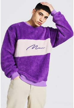 Purple Oversized Man Colour Block Borg Sweat