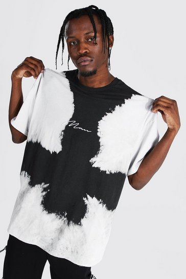 Black Oversized Man Signature Bleach T-shirt