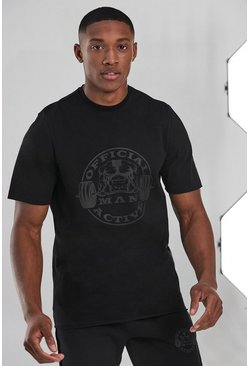 Black Man Active Oversized Logo T-shirt With Raw Ed
