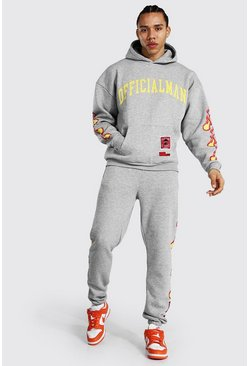 Grey marl grey Tall Man Hooded Tracksuit With Fire Print