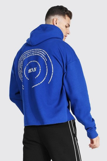 Blue Tall Man Back Print Hoodie With Raw Hem