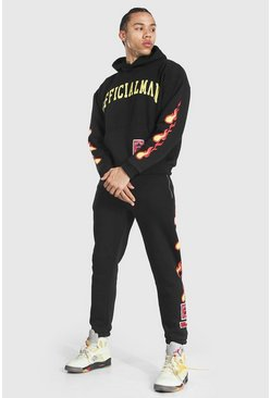 Black Tall Man Hooded Tracksuit With Fire Print