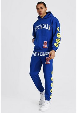 Blue Tall Man Hooded Tracksuit With Trippy Face