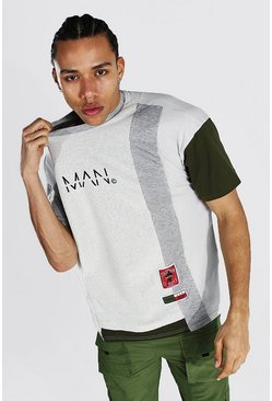 Camiseta ancha con bloques de color Official MAN Tall, Gris