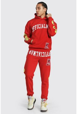 Red Tall Man Hooded Tracksuit With Trippy Face