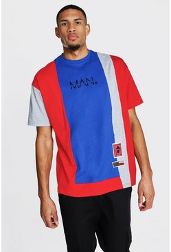 Red Tall Man Colourblock Oversized T-shirt