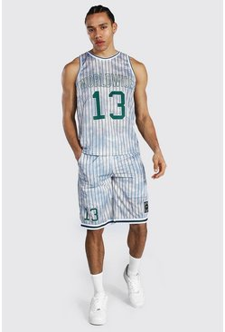 Ecru white Tall Worldwide Mesh Basketball Short Set
