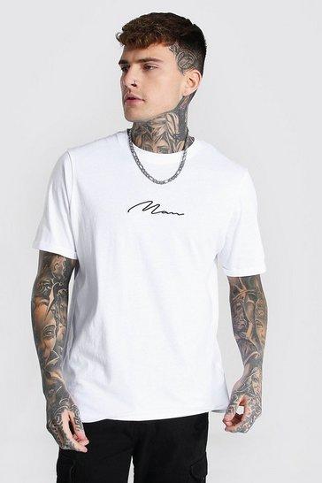 White Man Signature Crew Neck Rolled Sleeve T-shirt