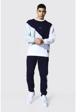 Grey Loose Fit Man Colour Block Sweater Tracksuit