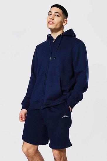 Navy Recycled Regular Fit Zip Through Hoodie