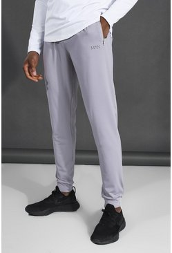 Grey Skinny Fit Active Gym Joggers With Zip Pocket
