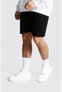 Black Regular Fit Recycled Jersey Shorts