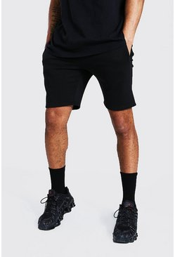 Black Recycled Slim Fit Jersey Shorts