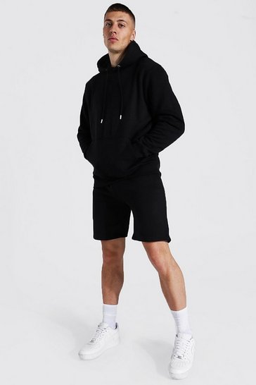 Black Recycled Regular Fit Short Hooded Tracksuit
