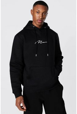 Black Recycled Man Signature Regular Hoodie