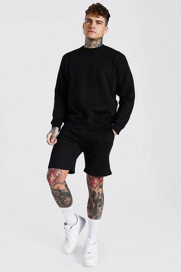 Black Recycled Regular Fit Short Sweatshirt Tracksuit