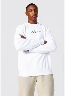 White Recycled Man Signature Regular Sweatshirt