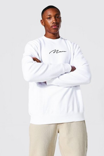 White Recycled Man Signature Regular Sweatshirt
