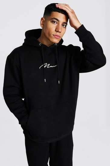 Black Recycled Man Signature Oversized Hoodie