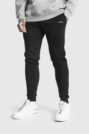 Black Recycled Man Signature Skinny Fit Joggers