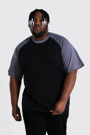 Black Plus Size Contrast Raglan T-shirt