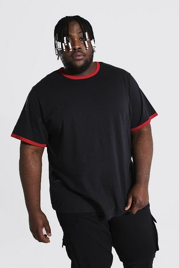 Black Plus Size Contrast Ringer T-shirt