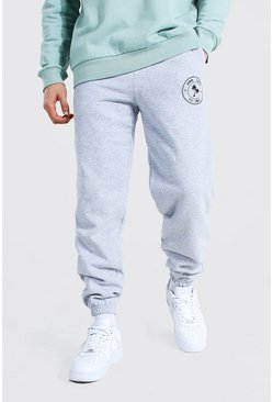 Grey marl Regular Homme Palm Print Joggers