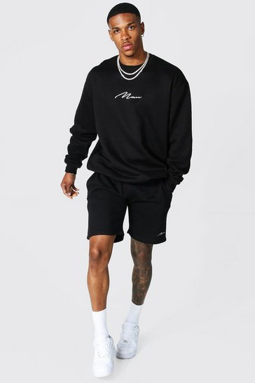 Black Recycled Man Signature Short Sweat Tracksuit