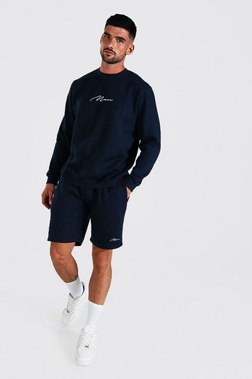 Navy Recycled Man Signature Short Sweat Tracksuit