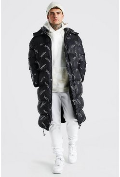 Black Man Branded All Over Longline Puffer