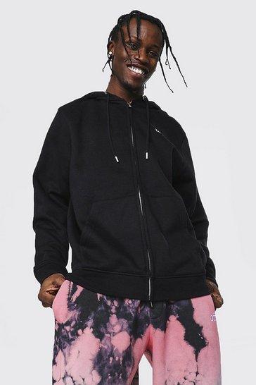 Black Recycled Original Man Regular Fit Zip Hoodie