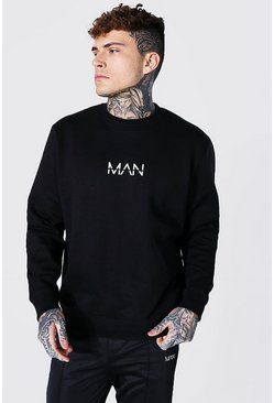 Black Recycled Original Man Oversized Sweatshirt